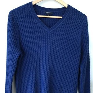 Land's End cable knit sweater with v-neck
